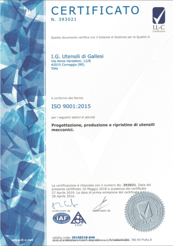 Certificato ISO 9001 per produzione utensili