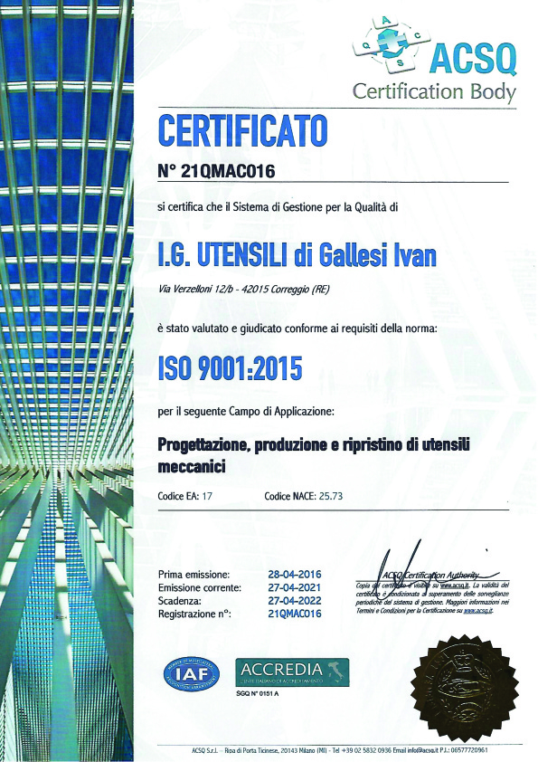 Produttore di utensili certificato 1
